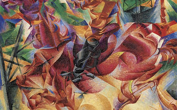Umberto Boccioni and the birth of the movement futurism, synthesis as opposed to fragmentation and highly relevant to the intellectual notions today